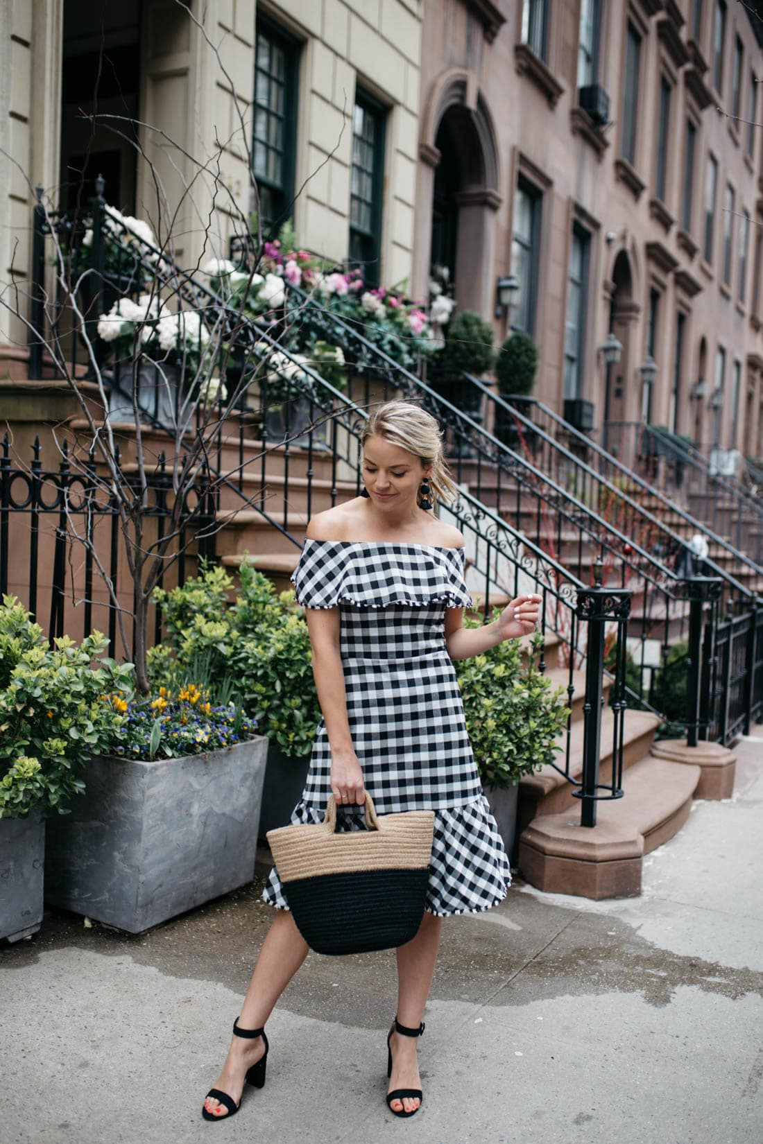 1b1222e9b0289 GINGHAM OFF THE SHOULDER DRESS - Styled Snapshots