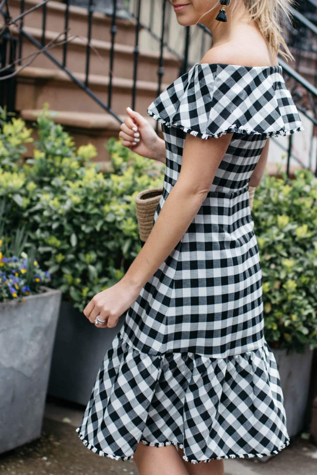 974bc30aaab07 Off the shoulder dress · Midi Dress · Ann Taylor Gingham · Styled Snapshots