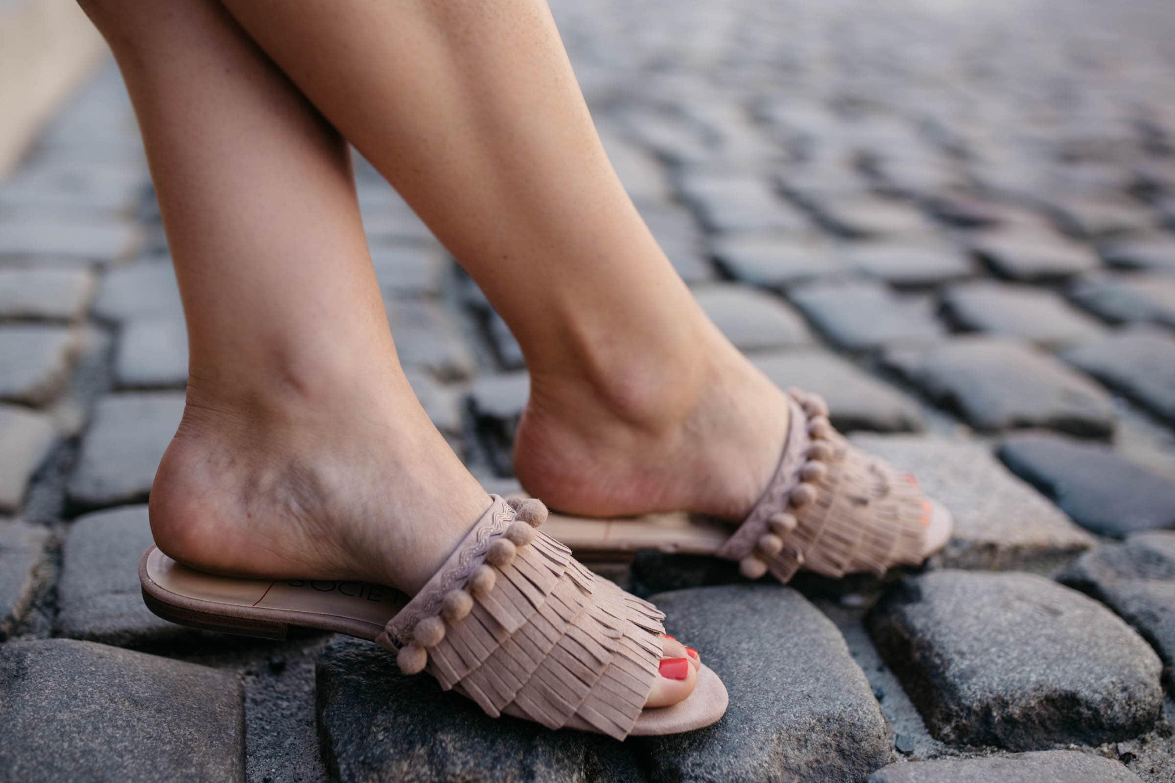 MALINA Fringe Slip-on Sandal