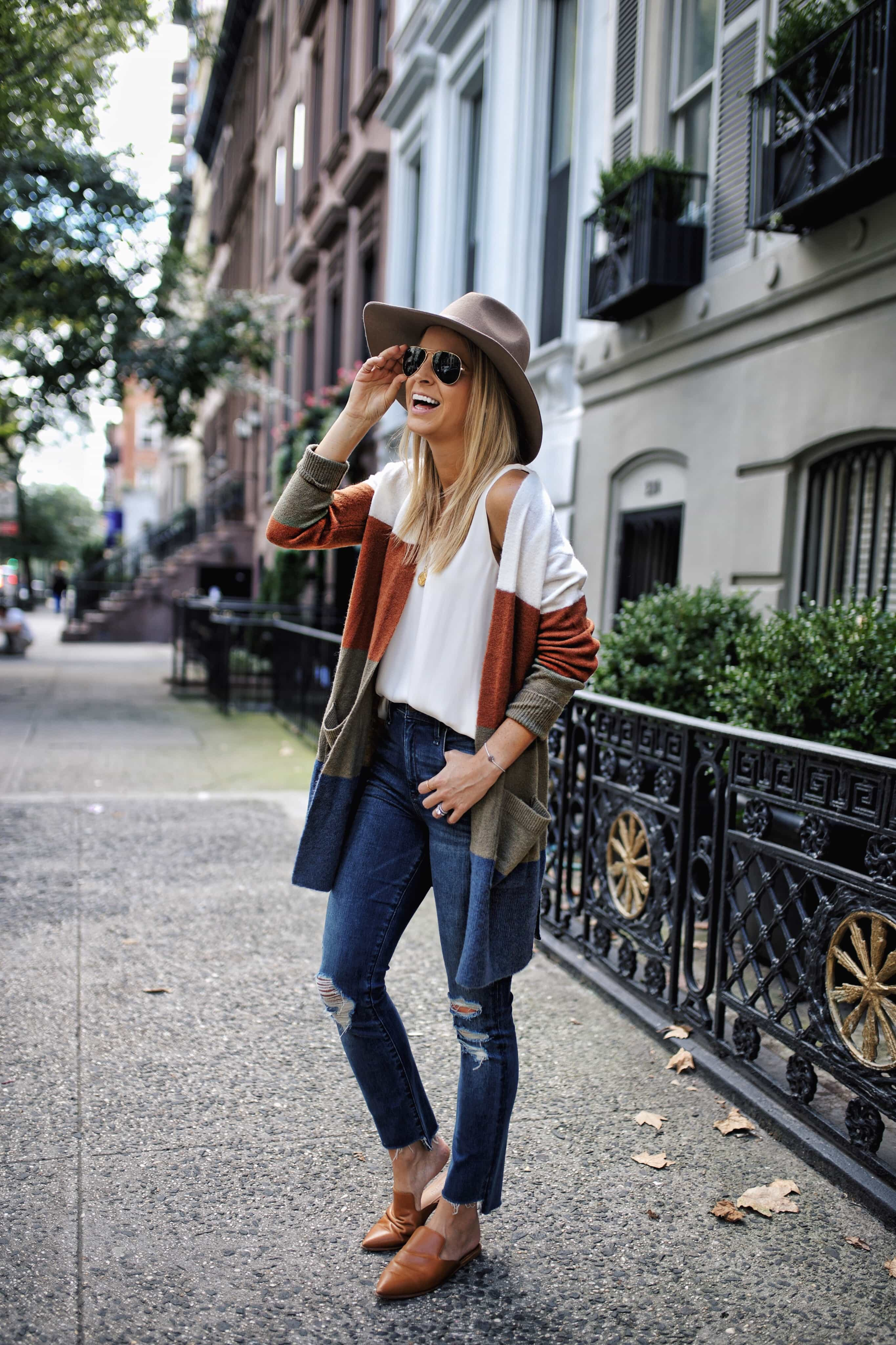 madewell striped cardigan