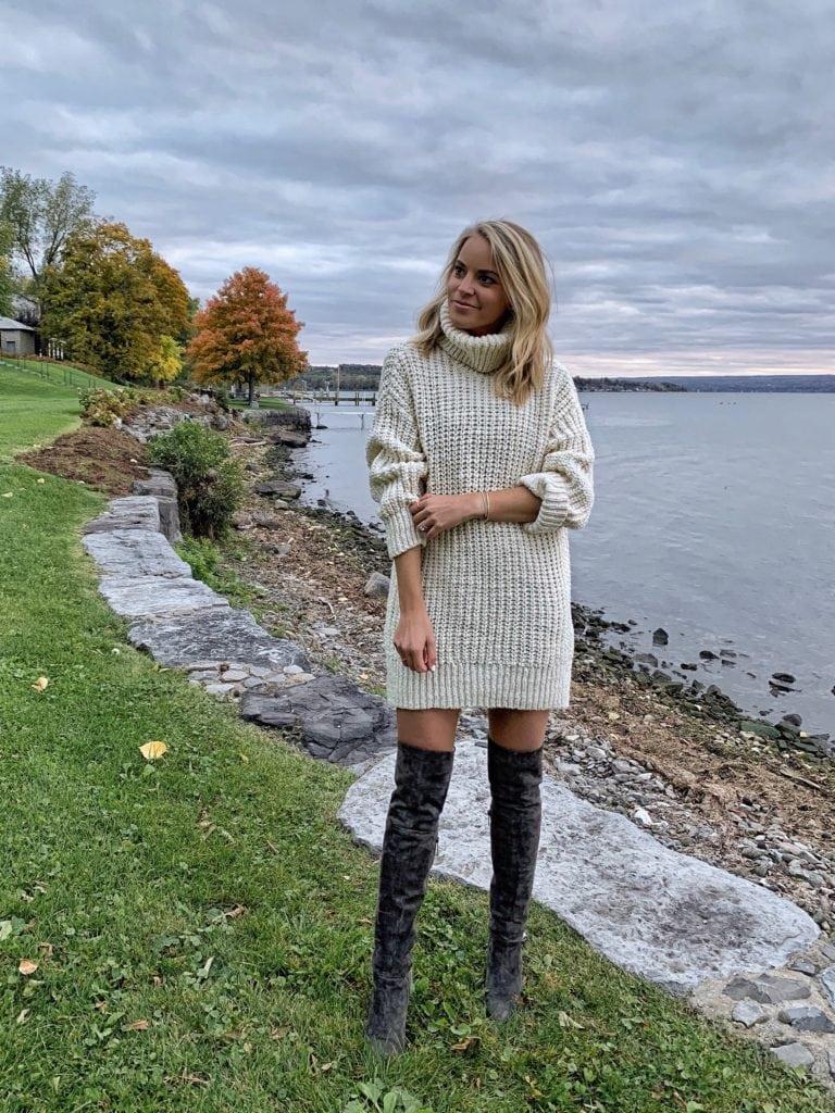 chunky-knit sweater dress