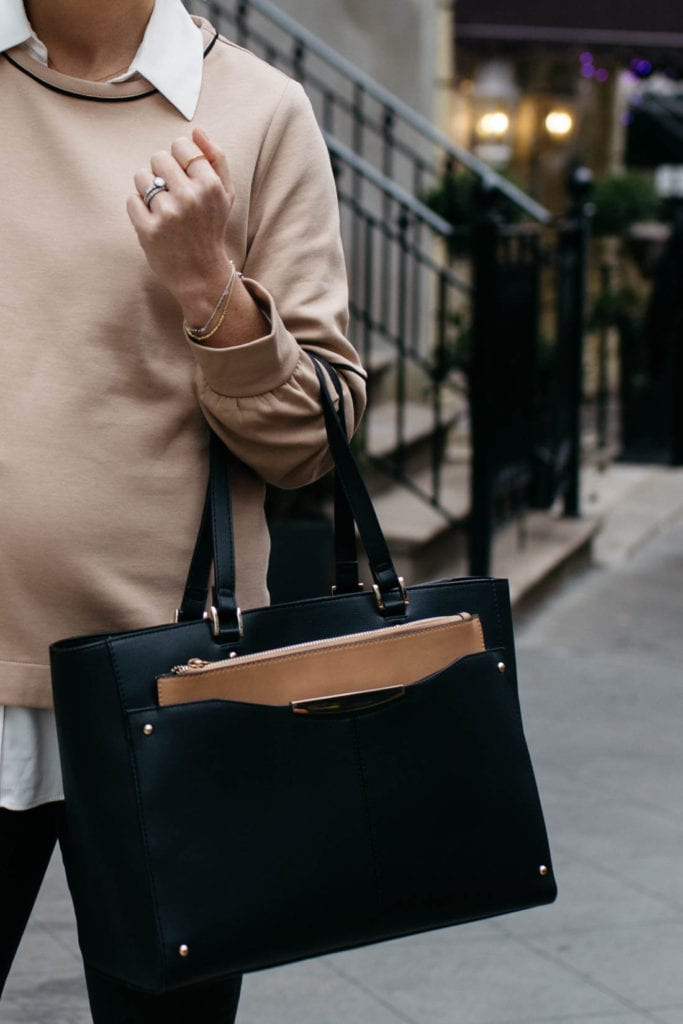 affordable black tote bag