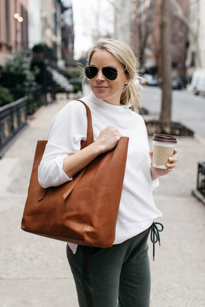 camel leather tote