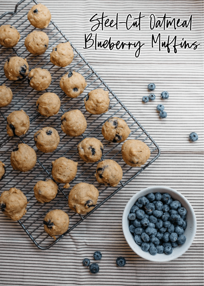 Steel-cut Oatmeal Blueberry Muffins