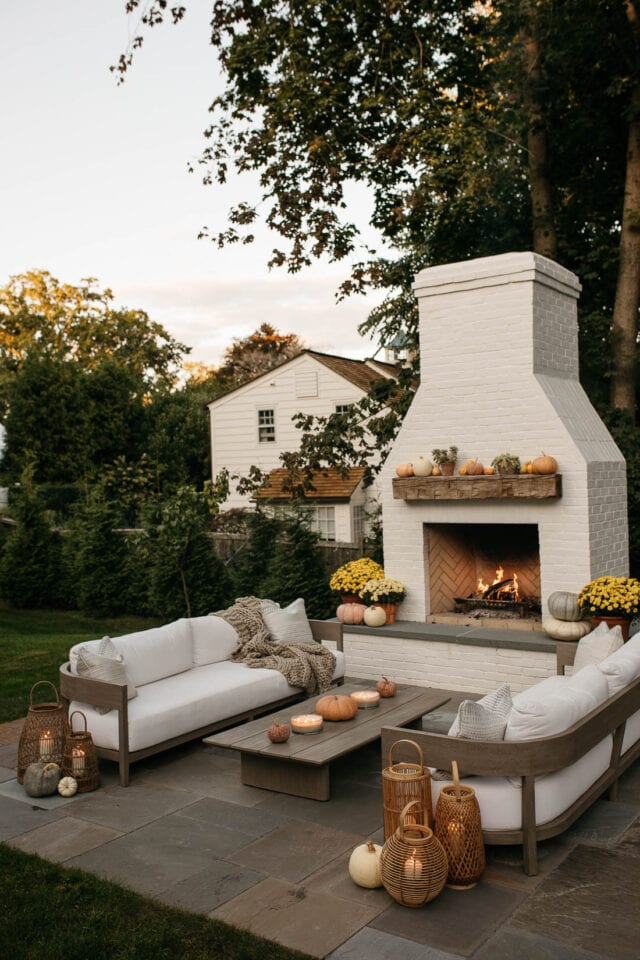 fall outdoor fireplace