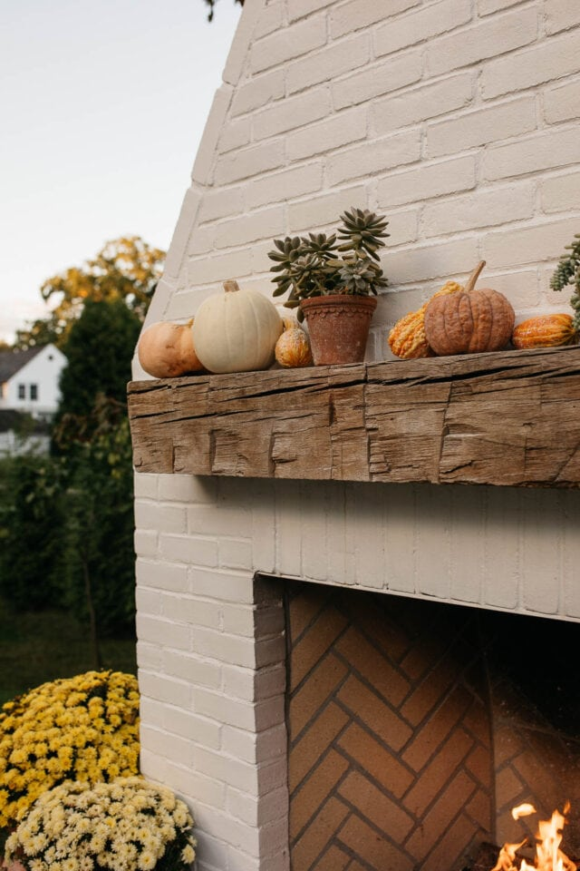 fireplace mantle wooden beam
